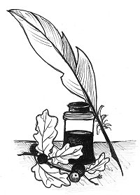 Drawing of oak leaves and galls with ink pot and quill pen