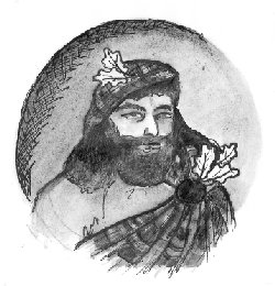 Drawing of Highlander wearing oak leaf clan badge