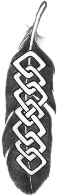 Feather with knotwork