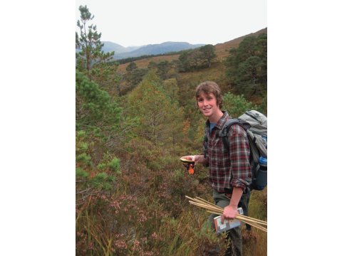 Ed Wilson, an MSc graduate from Imperial College, London, carrying out a survey on the establishment of the trees at Meallan in October 2012.